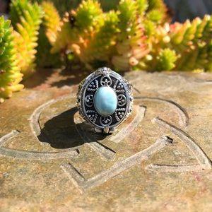 Larimar Poison/Wish Locket Sterling Silver Ring 8